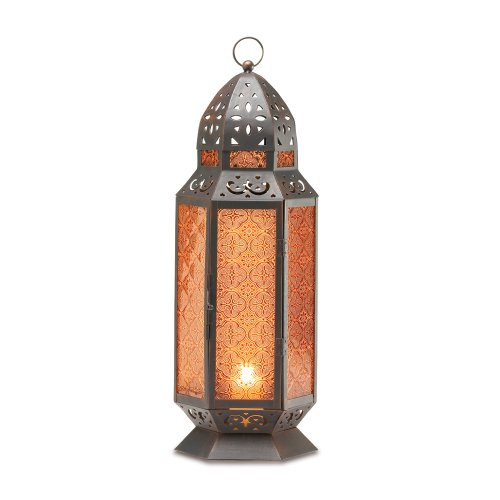 2 Large Glass Tall Moroccan Lanterns Candle Holder [Misc.] Bronze Amber Glass Lantern