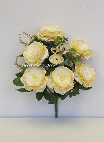 Sweet Home Deco 18'' Silk Camellia Rose Geranium Artificial Flower Bush (10 stems) Wedding Home Decorations 2017 New Floral Design Bush (Cream)
