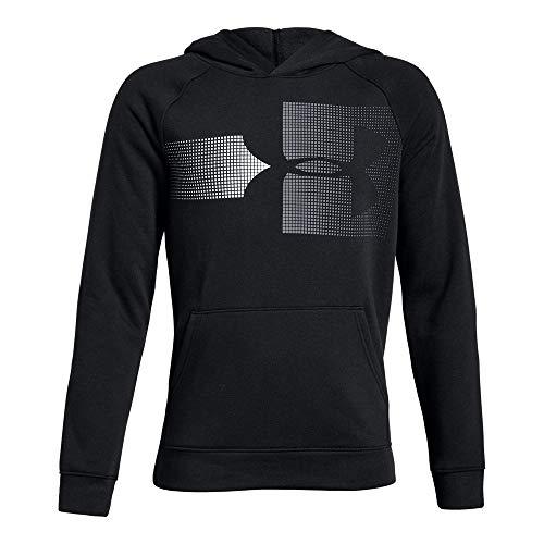 Under Armour Boys Rival Logo Hoodie, Black (001)/Steel, Youth Medium