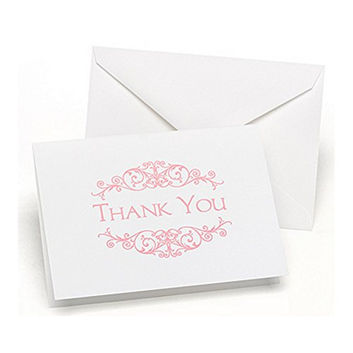 Pink Flourish Frame Thank You Cards With Envelopes - 50 Pack