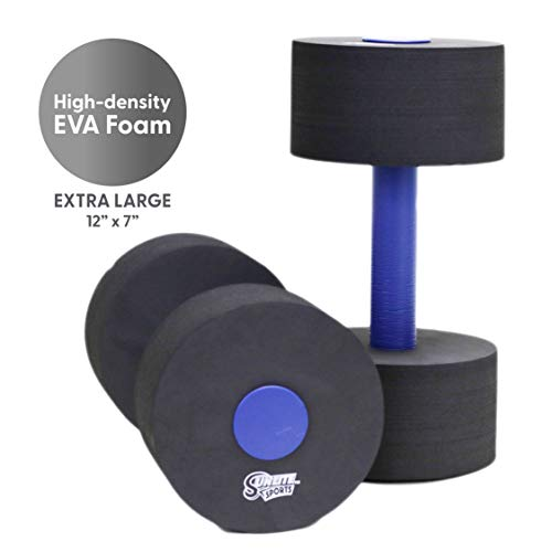 Sunlite Sports High-Density EVA-Foam Dumbbell Set - Soft Padded - Water Aerobics, Aqua Therapy, Pool Fitness, Water Exercise - Advanced Size (Black, X-Large)
