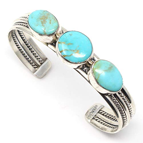 (L7 Trading Sterling Silver Three Stone Turquoise Bracelet by Tina Benally)