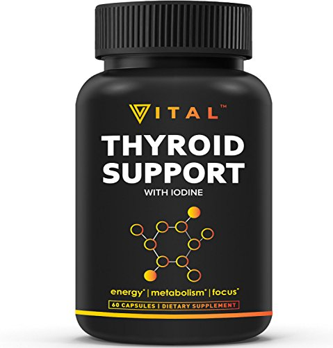 Thyroid Support Supplement with Iodine - Metabolism, Energy and Focus Formula - Vegetarian, Soy & Gluten Free - Non-GMO - Vitamin B12 Complex, Zinc,Selenium, Ashwagandha, Copper & More,30 Day Supply