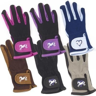 Horse Riding Gloves (Ovation Kids Hearts & Horses Riding Gloves - Size:B [12-14] Color:Pink/Black)