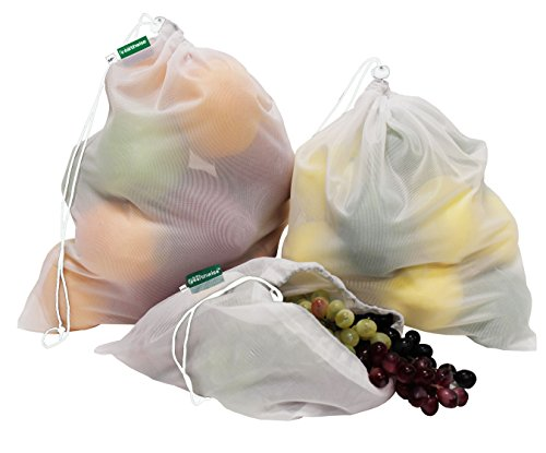 Earthwise Reusable Mesh Produce Bags Tare Weight Tags On