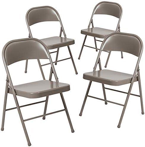 Emma Oliver 4 Pk. Double Braced Metal Folding Chair Beige