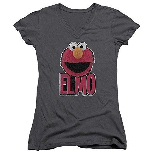 V Smile Elmo - A&E Designs Juniors Elmo Smile V-Neck Shirt, Charcoal, XL