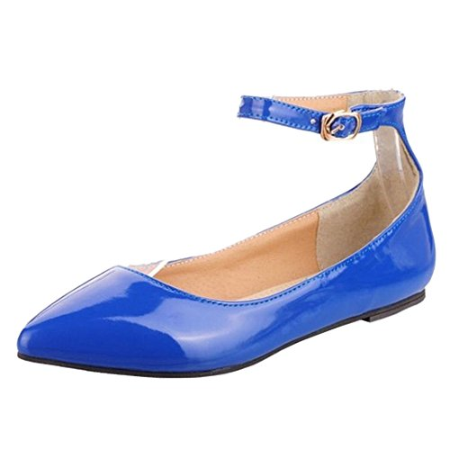 SJJH Women Flats with Pointed Toe and Buckle/Court Shoes with Flat Heel and Plus Blue 6l8mn