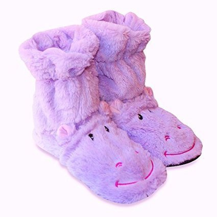 Microwavable Aromatherapy Cozy Hugs Bootie Slippers - Hippo by Health Touch (Aromatherapy Booties)