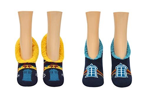 Doctor Who 13th Doctor Socks Merchandise (2 Pair) - (Women) 13th Dr Who Gifts Tardis Slip On Socks - Fits Shoe Size: 4-10 (Ladies)]()