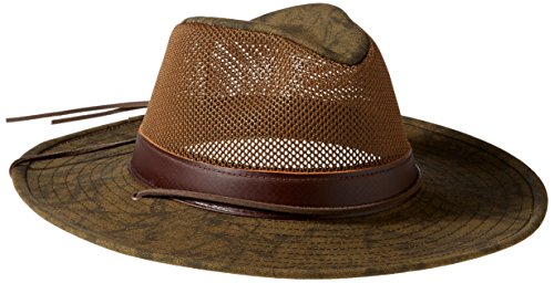 - Henschel Men's Hiker Crushable UPF 50 Mesh Breezer with Leather Band Hat, Distressed Gold, Large