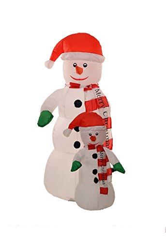 Big 5 Foot Self Inflating Illuminated 2 Snowman Yard Decoration Blow up (Big Snowman)