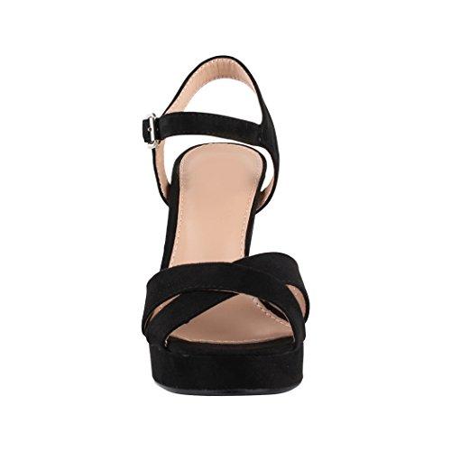 Elara Damen Pumps | Bequeme Peep-Toe Sandalette | Trendige Plateau High Heels | Chunkyrayan Schwarz (fällt kleiner aus)