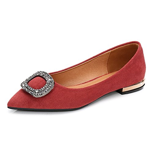 Toe Women Shoes UU Flats Ballet 2018 Shoes Red Spring Loafers Twinkle Flats Shoes Pointed Crystal New Casual Women q7S1Fx
