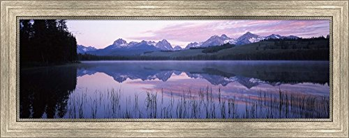 Little Redfish Lake, Sawtooth National Recreation Area, Custer County, Idaho by Panoramic Images Framed Art Print Wall Picture, Silver Scoop Frame, 31 x 12 inches (Framed Redfish)