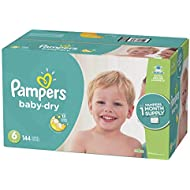 Diapers Size 6, 144 Count - Pampers Baby Dry Disposable Baby Diapers, ONE MONTH SUPPLY