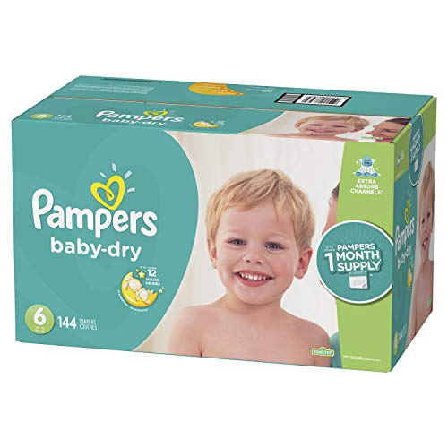 Diapers Size 6, 144 Count - Pampers Baby Dry Disposable Baby Diapers, ONE MONTH SUPPLY - Large Baby Diapers