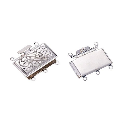 Pandahall 2pcs Brass Silver Multi-Strand Case Box Clasps 3-Strand Rectangle Filigree Clasps Jewelry Findings Nickel Free 21x23x5mm
