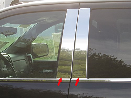Pickup Stainless Pillar Posts - QAA FITS Silverado 2014-2018 Chevrolet (4 Pc: Stainless Steel Pillar Post Trim Kit, Crew Cab, Double Cab) PP54184