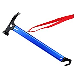 Ndier Martillo multifunción para camping al aire libre con cuerda de aluminio ligero para tienda de campaña (azul)