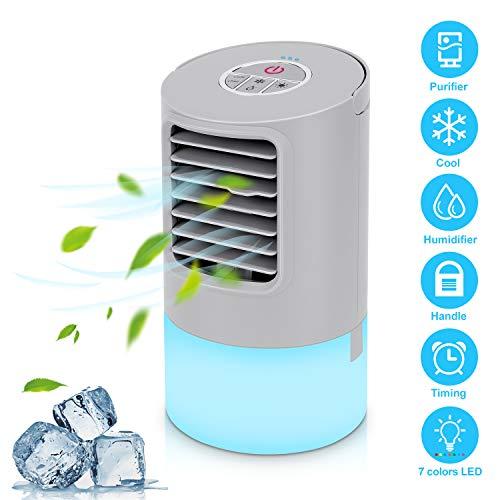 🥇 Aire Acondicionado Portátil Refrigeracion Mini Enfriador De Aire Silencioso Climatizador Evaporativo Ventilador Purificador Humidificador 7 Leds
