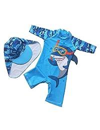 Achiyi Baby Little Boys One-Piece UPF 50+ Sun Protection Swimsuit Blue Cartoon Shark Bathing Suit Swimwear with Hat
