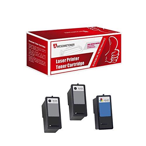 (Awesometoner 3-Pack DELL Remanufactured DELL (Series 9) 2 x MK992 Black & MK993 Color Ink Cartridges for DELL 926, V305, V305W Printers)