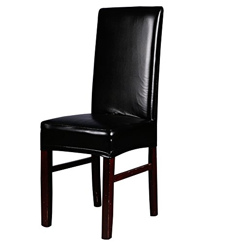 Dining Chair Covers, My Decor Solid Pu Leather Waterproof Stretch Dining Chair Protctor Cover Slipcover, Black, 1 Pack