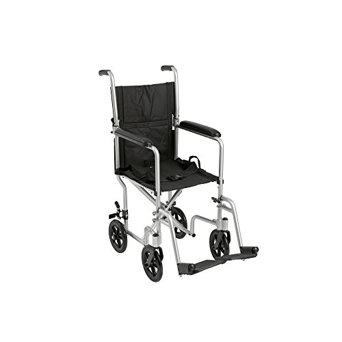 Drive Medical Deluxe Lightweight Aluminum Transport Wheelchair, Silver, 17