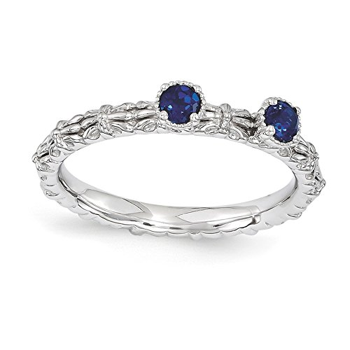 Sterling Silver Stackable Expressions Created Sapphire Two Stone Ring Size 8