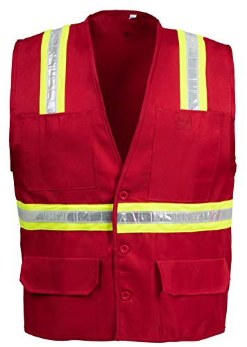 (Safety Depot Safety Vest Professional Style 6 Pocket with Pen Dividers Hi Vis Reflective Button Down Suitable for Supervisor, Chief, and Leaders Positions BTN6038-RD (Red, Large))