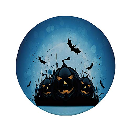 Non-Slip Rubber Round Mouse Pad,Halloween,Scary Pumpkins in Grass with Bats Full Moon Traditional Composition Decorative,Black Yellow Sky -