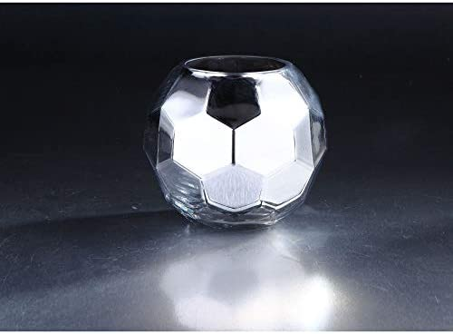 CC Home Furnishings 7″ Silver Shiny Hexagon Hand Blown Glass Vase Tabletop Decor