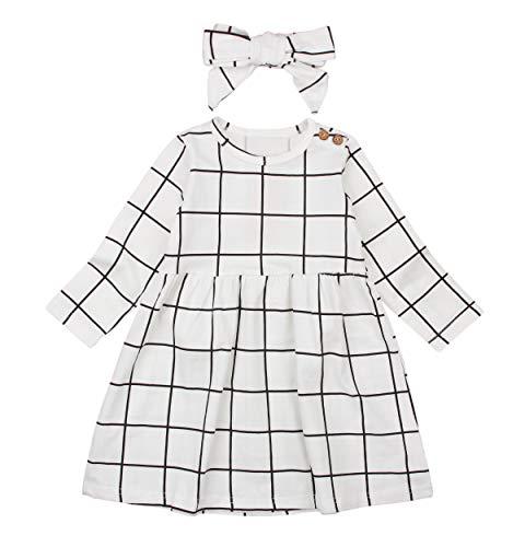 Mini honey Infant Toddle Baby Girls Dress Long Sleeve White and Black Plaid Party Princess Dresses (6-7 T, White)