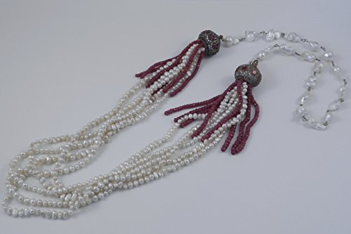 Multi-strand Fresh Water and Biwa Pearl Necklace with Ruby Tassels, 40 inches