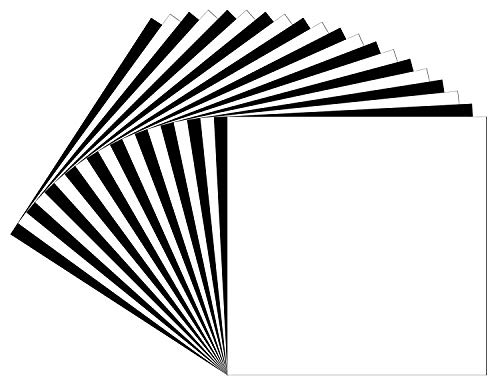 """12""""x12"""" Oracal 651 Permanent Adhesive Backed Vinyl Sheets, 20 pack (Glossy Black & White) for Cricut, Shilhoutte. Perfect For Lettering, Marking, Decorations, Decals, Bumper Stickers. ()"""