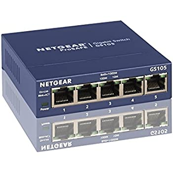 NETGEAR GS105NA 5-Port Gigabit Ethernet Network Switch | Lifetime Next Business Day Replacement | Sturdy Metal | Desktop | Plug-and-Play | Unmanaged