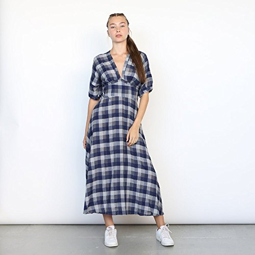 Plaided Maxi Dress, Blue Plaid dress , Blue Maxi Dress. by Naftul
