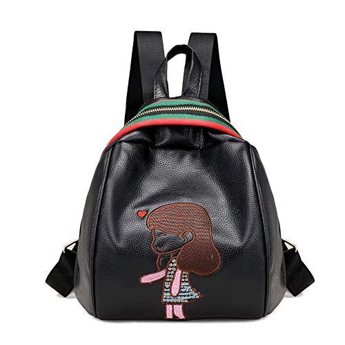 PU Tout Noir Mode Sacs Cuir fourre Brodé AgooLar Femme Sacs Noir GMBBA182419 bandoulière à wX6II7