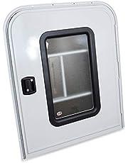 LeisureRV Teardrop XX x XX Face Mount Foam Core Passenger Side Door with Radius Corners on Top and Square Bottom with Screen Door