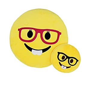 "UBAOXIN Emoji Pillow Smiley Sunglasses 13"" Soft Stuffed Plush Pillow Throw Pillow Bedding Decoration Doll Toy Gift (Nerd)"