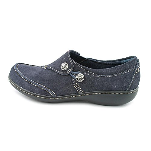 Clarks Ashland Lane Womens Size 9.5 Blue Moc Suede Loafers Shoes