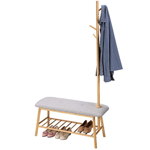 LANGRIA Bamboo Coat Rack with Soft Padded Shoe Bench Features Slatted Shelf and 5 Hooks for Jackets, Scarves, Hats, and Accessories Storage in Home Doorway and Office Entryway