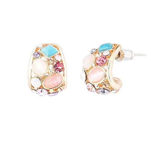 Small Hoop Earrings Multicolor Crystals and Opal Fashion Earrings for Women and Girls