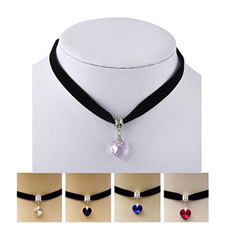 ILOVEDIY Kropfband/Kropfkette Dirndlkette mit Herz Kristall Anhänger- Samt Schwarz - Trachtenschmuck/Dirndlschmuck Damen