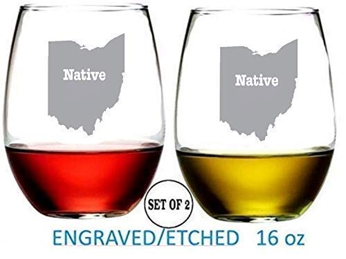 Ohio Stemless Wine Glasses Etched Engraved Perfect Fun Handmade Gifts for Everyone Set of 2
