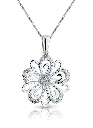 """Or blanc 9Ct & Diamant Fleur ouverte Tourbillon Chaîne et Pendentif Tête-16""""/40cm -- 45,7cm/45cm--20""""/50mm"""
