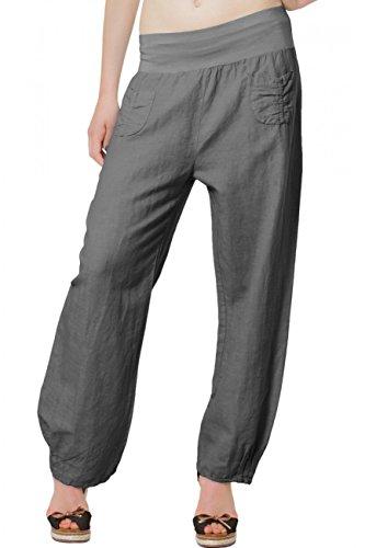 CASPAR KHS006 Damen Leinenhose , Farbe:dunkelgrau;Größe:38 M UK10 US8