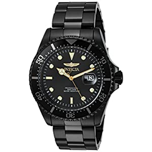 Invicta Men's Pro Diver Quartz Diving Watch with Stainless-Steel Strap, Black, 22 (Model: 23402)