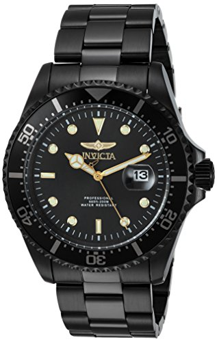 Invicta Men's 'Pro Diver' Quartz Stainless Steel Diving Watch, Color:Black (Model: 23402)